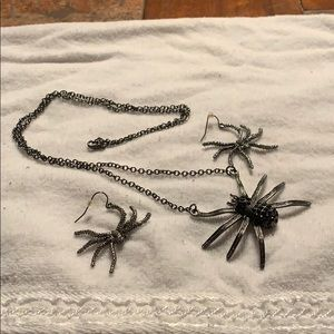 Spider necklace and matching earrings